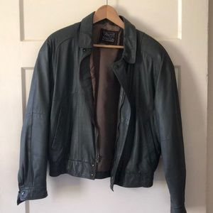 Jackets & Blazers - Vintage Dark Grey Leather Jacket sz 40